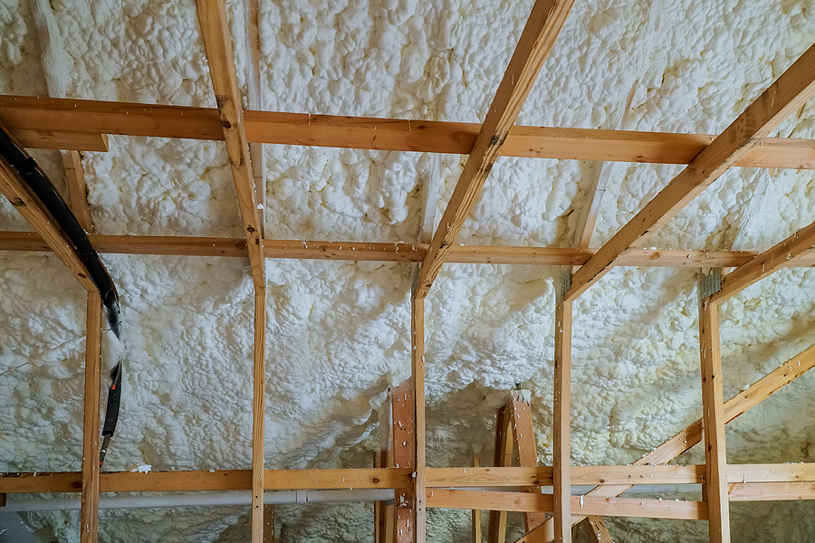Insulation of attic with foam insulation
